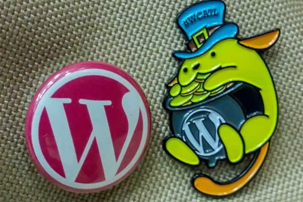 wordpress button and wordcamp swag